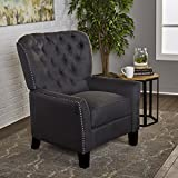 Ceres Tufted Dark Charcoal Fabric Recliner For Sale