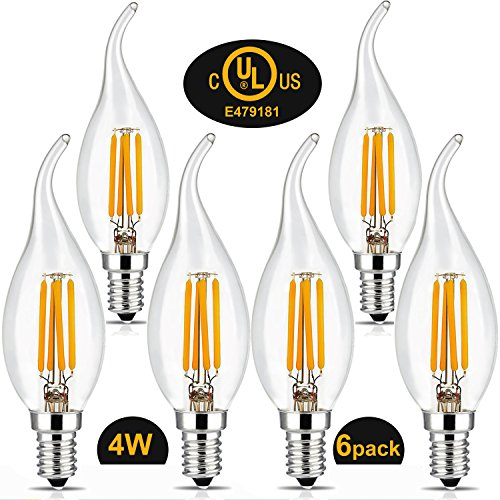 Flame Tip Light Bulb (BRIMAX 4W LED Chandelier Light Bulbs, E12 Candelabra Small Base, C35T Flame Bent Tip Filament Candle Light, 2700K Warm White, 40W Equivalent, Energy Saving, Indoor & Outdoor Decorative Bulb, 6Pack)