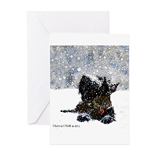 (CafePress - Scottish Terrier Christmas - Greeting Card (20-pack), Note Card with Blank Inside, Birthday Card Glossy)