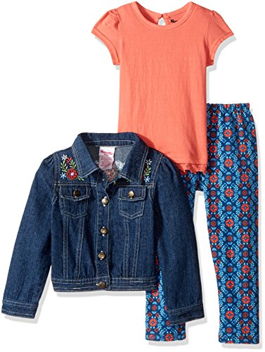 Nannette Girls' Toddler 3 Piece Denim Jacket Set with with Tee and Legging, Coral ()