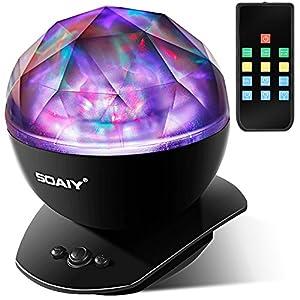 SOAIY Lampe d'Ambiance LED Multicolore Lampe de Nuit avec Projection 4 Minuteries & 3 Niveaux de Luminosité avec Télécommande – Noire