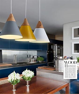 Modern Wood Pendant Ceiling Hanging Lamp Chandelier Kitchen Light Fixture 4 Colors Mini Light
