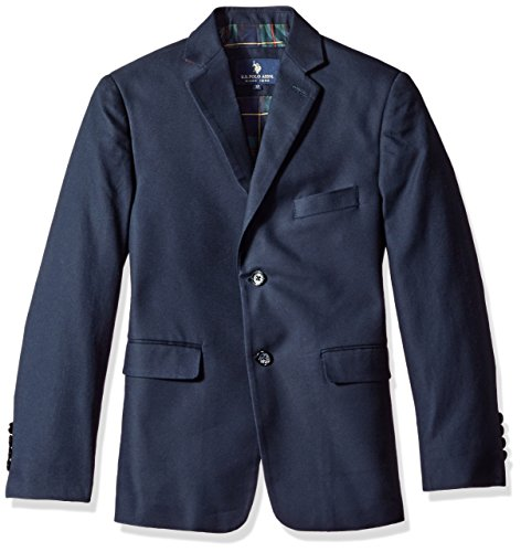 (U.S. POLO ASSN. Boys' Sport Coat, CDM3314J-Hopsack-Navy, 8)