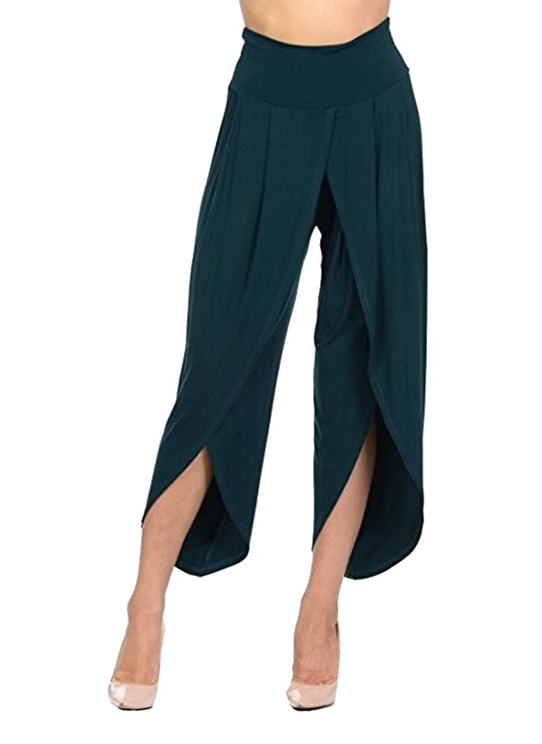 Honeystore Women's Casual High Waist Wide Leg Ruched Cropped Palazzo Pants H1804BC