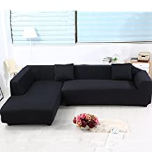 Universal Sofa Covers for L Shape, 2pcs Polyester Fabric Stretch Slipcovers + 2pcs Pillow Covers for Sectional sofa L-shape Couch - Solid Color Black