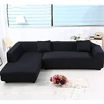 Universal Sofa Covers For L Shape, 2pcs Polyester Fabric Stretch Slipcovers  + 2pcs Pillow Covers For Sectional Sofa L Shape Couch   Solid Color Black