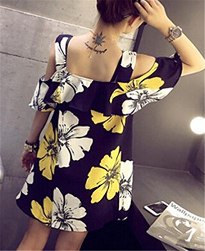 Cold Jaycargogo Ruffled Floral Dresses Fashion Sleeve Swing Shoulder Black Short Women's qwTPwUE6
