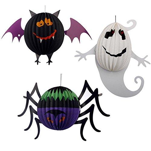 Jspoir Halloween Decorations Paper Lanterns with LED Light,Pack of 3 - -