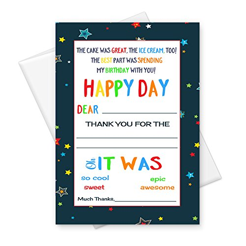 Birthday Thank You Card Kids Stationery (Set of 15) Colorful Starry Party Notecards