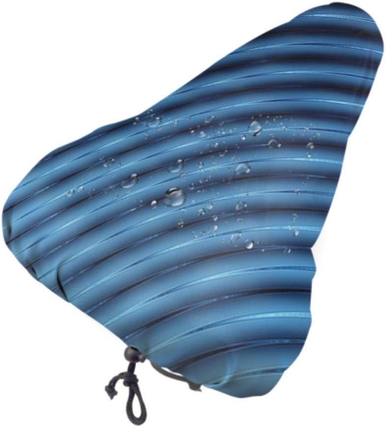 Enhusk Funda de sillín de Bicicleta a Prueba de Agua Abstract 3D Blue Lines Fundas de Asiento de licuadora para niñas Fundas de Asiento a Prueba de Agua con cordón, Resistente a la Lluvia y al polv