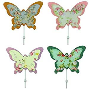 GardeningWill 4pcs Vintage Garden Style Sturdy Butterfly Shaped Wall Iron Hooks Wooden Hook High Quality Home Decoration