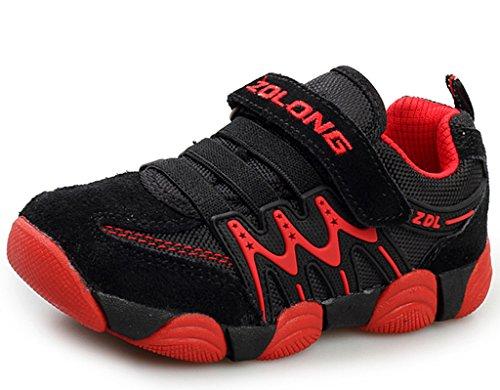 DADAWEN Boy's Girl's Children Sneakers Athletic Easy Strap Running Shoes (Toddler/Little Kid/Big Kid) Black/Red US Size 3.5 M Big Kid/EU Size 37/Model 5.5 (09 Running Shoe)