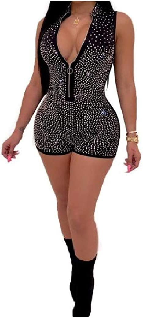 FreelyWomen Deep V Neck Sleeveless Trendly Rhinestone Silm Fit Playsuit Shorts Rompers