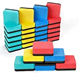Joseche 24 Pack Magnetic Whiteboard Eraser Dry Erasers Chalkboard Cleansers Wiper for Kids School Home and Office (2x2 inch)
