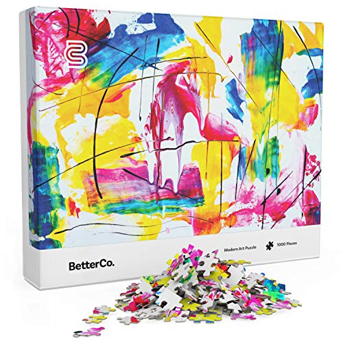 Challenge 1000 Piece Puzzle - BetterCo. Modern Art Puzzle for Adults - 1000 Pieces - Challenge Yourself with Difficult Abstract Paint Puzzles for Adults, Kids, and Teens