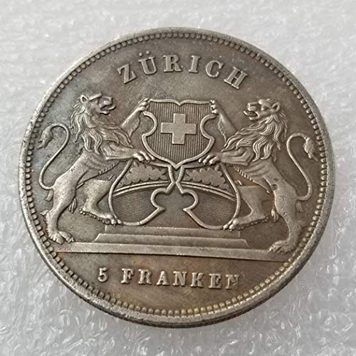 WuTing 1859 Swiss Franc Old Coins - 5 Francs Old Coin-Brilliant Uncirculated Commemorative Coin-Great Switzerland Coins - Discover History of Coins Great American Coin (Coin Franc)