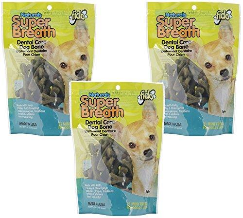 (3 Pack) Super Breath Dental Care Dog Bone, Mini, 21 Bones each