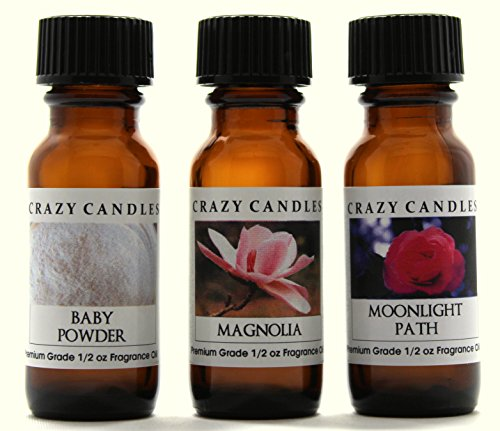 Crazy Candles 3 Bottles Set, 1 Baby Powder, 1 Magnolia, 1 Moonlight Path 1/2 Fl Oz Each (15ml) Premium Grade Scented Fragrance Oils