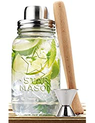 Clear Glass 30-oz Mason Jar and Stainless Steel Cocktail Shaker Set, - Wood Muddler & Stainless Steel Jigger, Home & Party Barware Tool Set