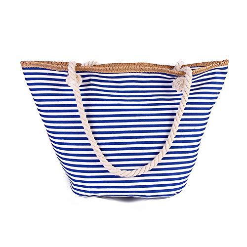 RETON Summer Beach Bag Shoulder Bag New Naval Striped Canvas Shopping Bag for Women and Men Sky Blue