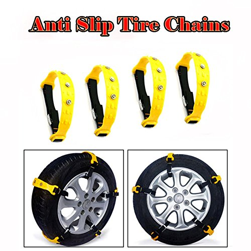Snow Chains 10 Pcs Anti Slip Tire Chains Adjustable Emergency Traction Security Car Tire Snow Chains Fit for Most Car SUV Truck by BiBOSS (Image #3)