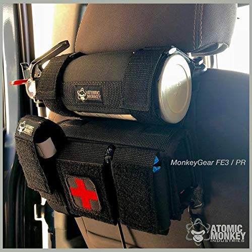 AMI Seat Back Fire Extinguisher Holder with Deluxe Quick Response Pouch, Jeep Wrangler / Toyota Tacoma, by Atomic Monkey Industries ()