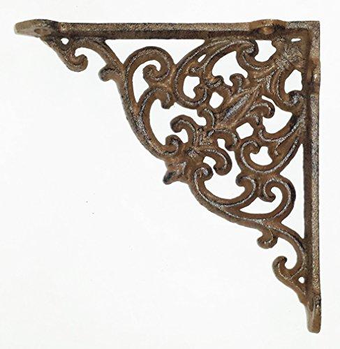 - Heavy Cast Iron - 5 3/4 Inch Victorian Shelf Bracket - Scroll Design - All-Purpose Hanger - Rustic Antique Brown - Primitive Design - Indoor or Outdoor Use ()