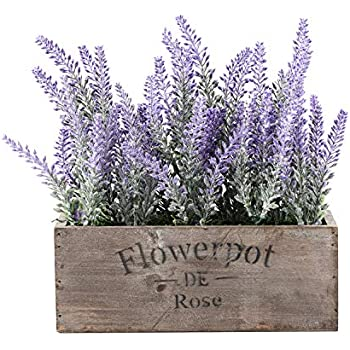Azoco Artificial Lavender Flowers Potted Artificial Lavender Plants in Pot Fake Lavender Flowers Arrangements Centerpieces for Table Home Farmhouse Office Patio Décor