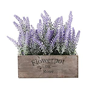 Azoco Artificial Flower Potted Lavender Plant Fake Floral Arrangements in Pots Room Table Centerpieces for Home Farmhouse Indoor Outdoor Decor Party Wedding Garden Office Patio Decoration 76
