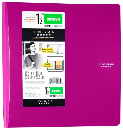Five Star 3-Ring Plastic Binder, 1.5 Inch Capacity, 11.75 x 11.25 x 1.75 Inches, Purple (72498)