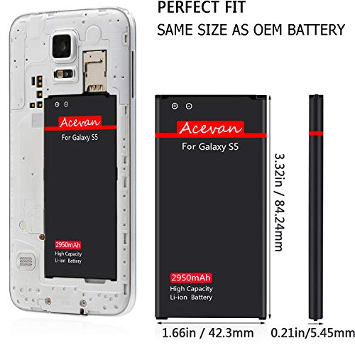 Galaxy S5 Battery Acevan 2950mAh Li-ion Battery Replacement for Samsung Galaxy S5, Verizon G900V, Sprint G900P, T-Mobile G900T, AT&T G900A, G900F, G900H, G900R4, I9600 [3 Year Warranty] by Acevan (Image #2)