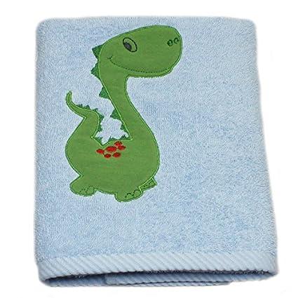 Harwoods - Toalla de mano infantil - Con un dinosaurio bordado - Azul