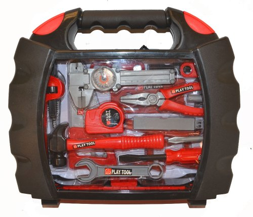 Bo-Toys Kids 28 Pcs Tool Set Pretend Play Toy Set in Handy Carry Along Tool Box, Red/Black ()