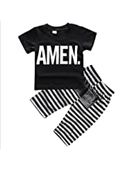 Newborn Baby Boys Kids Casual Cotton T-shirt Tops + Pants Outfits Clothes Set 0-5Y
