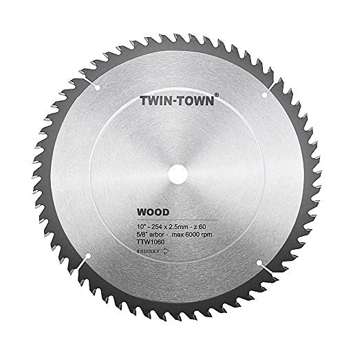 60 5/8 Arbor Teeth (TWIN-TOWN 10-Inch Saw Blade, 60 Teeth,General Purpose for Soft Wood, Hard Wood & Plywood, ATB Grind, 5/8-Inch Arbor)