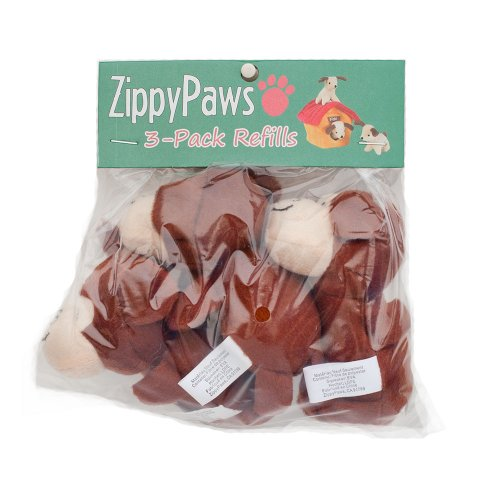 ZippyPaws - Zoo Friends Burrow, Interactive Squeaky Hide and Seek Plush Dog Toy - Monkey Miniz, 3 Pack ()