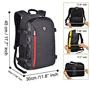 YuHan Oxford Large Capacity Multi-function Waterproof Anti-shock SLR/ DSLR Camera Bag Professional Travel Backpack Rucksack with Inner Padding and Rain Cover for Canon Nikon Sony Olympus Black+ Red