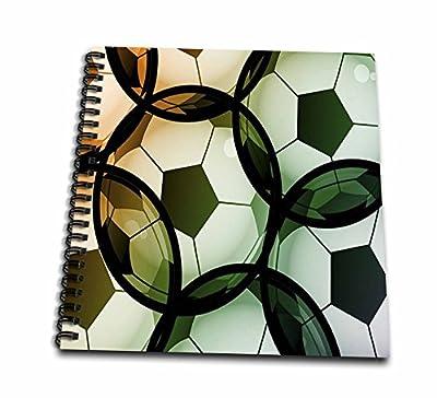 3dRose Image of Transparent Soccer Balls Drawing Book, 12 x 12