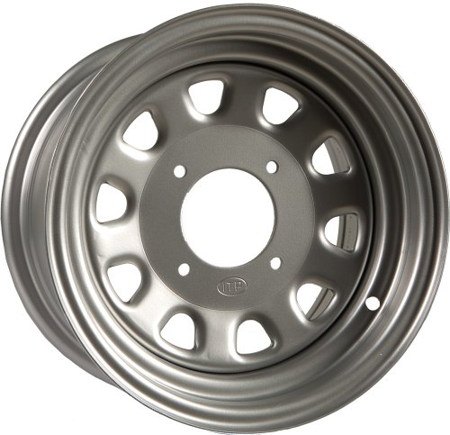 (ITP Delta Steel Wheel - 12x7 - 4+3 Offset - 4/156 - Silver , Bolt Pattern: 4/156, Rim Offset: 4+3, Wheel Rim Size: 12x7, Color: Silver, Position: Front/Rear 1225579032)