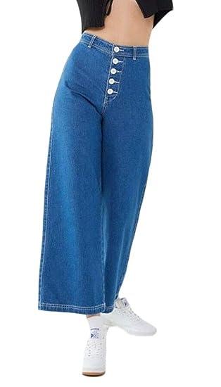 new styles fda77 31eef WSPLYSPJY Women's Office Retro High Waist Wide Leg Jeans ...