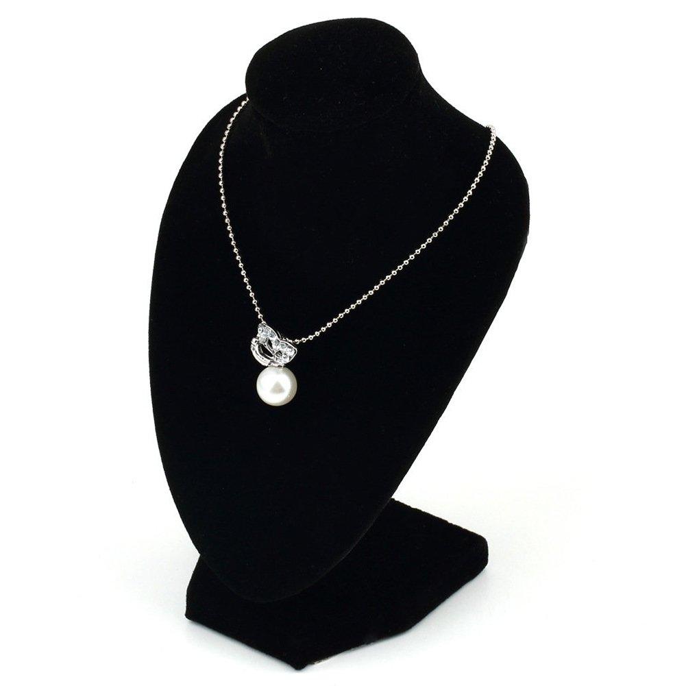 AchidistviQ Black Velvet Mannequin Necklace Pendant Jewelry Display Stand Holder Show Shelf Black
