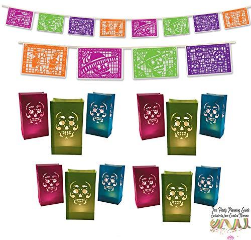 Curated Nirvana Day of The Dead Party Bundle | 1 Picado Banner, 12 Luminary Bags | Great for Día de Los Muertos Decor, Sugar Skull & Mexican Themed Parties ()