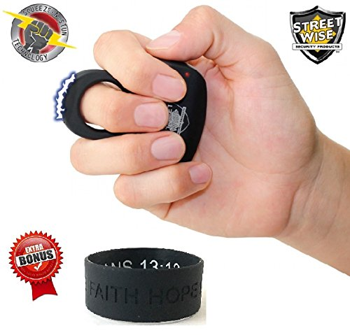 Bundle- Streetwise Sting Ring 18 Million Stun Gun (Black) & FREE Bonus Inspirational (Streetwise Stun Baton)