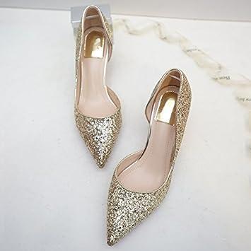 HUAIHAIZ Damen High Heels Pumps Gold Schuhe mit hohen