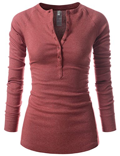 NEARKIN Womens Fitted Tee Henley Neck Long Sleeve Cotton Tshirts Wine US XL(Tag Size 2XL)
