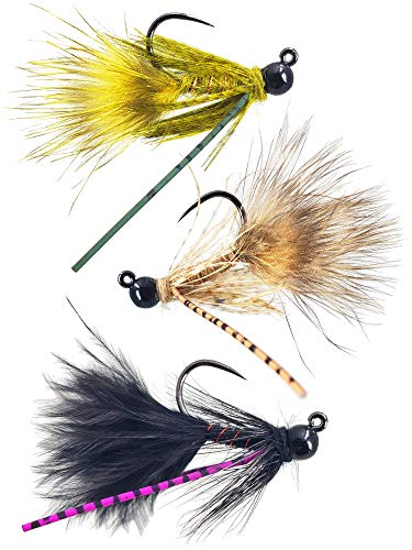 The Fly Crate Tungsten Jig Woolly Bugger Streamer Assortment | Fly Fishing for Trout Bass Pike | Size 8 (6 Pack)