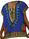 Decoraapparel Kids Traditional Unisex African Dashiki Shirt One Size Blue
