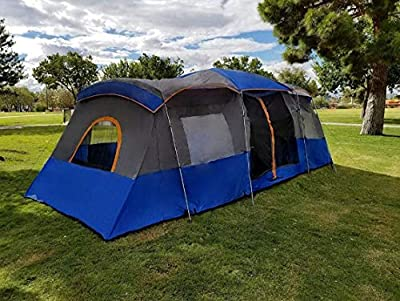 Americ Empire Instant Cabin Tent with 3 Room XL (21ft x 10ft). Huge Family Tents for Camping 12-13 Person Waterproof. Large Fits Up to 6 Queen Beds. Easy Assembly with Mosquito Mesh-Blue