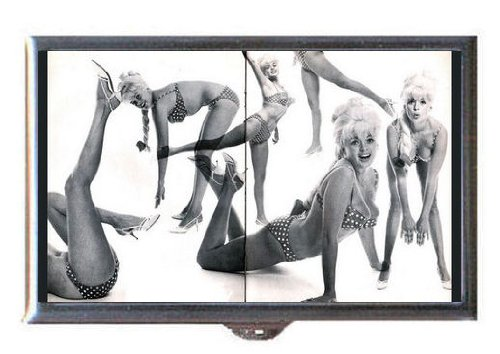 Jayne Mansfield Sexy Poses Polka-Dot Bikini, Guitar Pick or Pill Box USA Made
