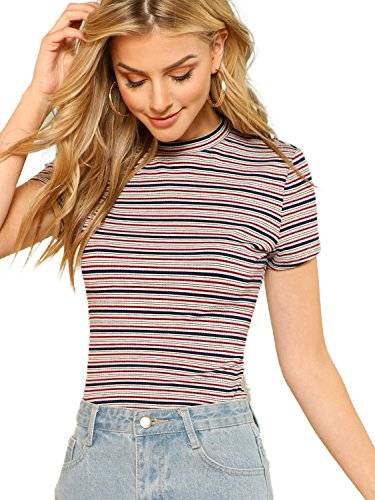 - Milumia Women's Casual Multi Striped Ribbed Short Sleeve Tee Knit Top X-Large Multicolor